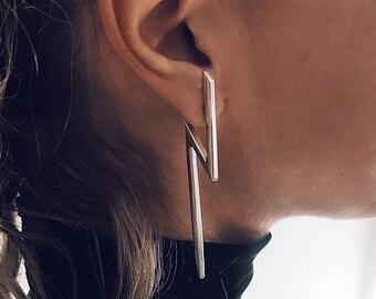 Flash earrings,thunder earrings,bar earrings,sterling silver earrings,long earrings,statement earrings,silver flash earrings,ear cuffs
