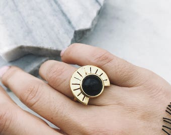 Black onyx ring,geometric ring,sterling silver rind,silver 925 gold plated ring,Aztec ring,sun ring,black ring,statement ring,round ring,