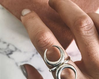 Moon ring,Double horn ring,wicca ring,sterling silver ring,gemini ring,double moon ring,crescrent moon ring,solid silver,chiara