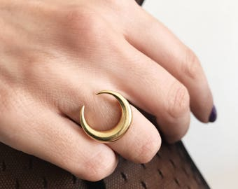 Moon ring,crescent moon ring,gold ring,sterling silver ring,double horn ring,gold moon ring,crescrent moon ring,wiccan ring,boho rings