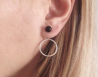 Ear jacket,hoop earrings,sterling silver earrings,ear cuffs,black onyx earrings,circle earrings,simple earrings,minimalist earrings