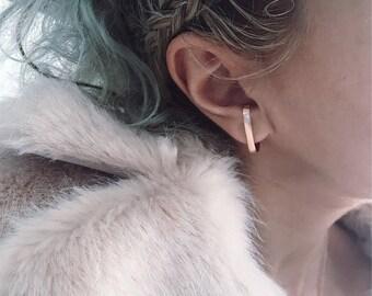Mono earring,single earring,ear cuff,sterling silver earring,gold earring,rose gold earring,rose gold ear cuff,gold ear jacket,men's earring