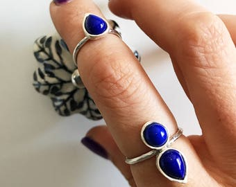 Stackable ring sterling silver,rings set,lapis lazuli ring,stacking rings,silver rings,lapis ring,simple ring,mulpu stones ring,boho rings
