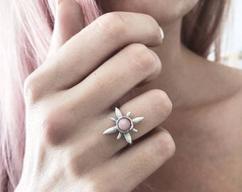 Star ring,pint opal ring,north star ring,stardust ring,opal ring,polaris ring,sterling silver ring,silver star ring,pole star ring,midi ring