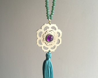 Mandala necklace,tassel necklace,February birthstone ,Spiritual necklace,Meditation jewelry,amethyst necklace,Lotus flower necklace,mala