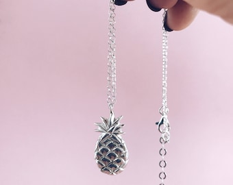 Pineaplle necklace,silver 925 necklace,sterling silver necklace,summer pendant,silver pineapple pendant,layered necklace