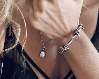 Barbed wire bracelet,sterling silver bracelet,men's bracelet,silver oxidized bracelet,silver 925 bracelet,oxidized wire bracelet,mens cuff