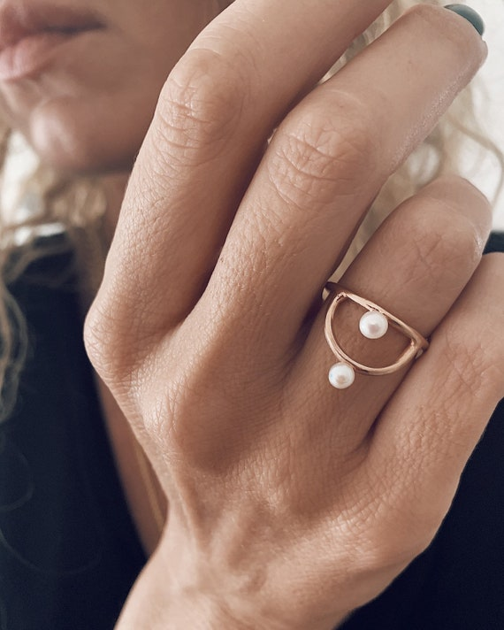 Rose gold ring,pearls ring,arch ring,dainty ring,stacking ring,sterling silver ring,gold filled ring,simple ring,pearl ring,minimalist ring