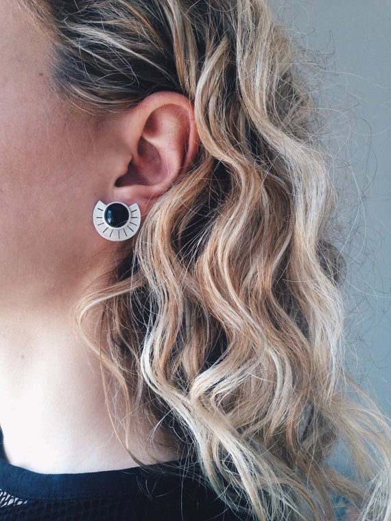 Sterling silver studs earrings,black onyx earrings,silver earrings,round earrings,Aztec earrings,geometric earrings,boho earrings