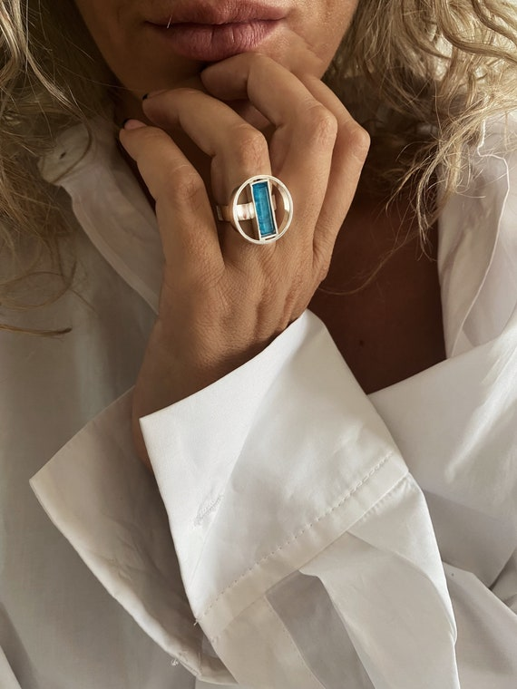 Blue crystal silver ring , apatite ring , blue stone ring