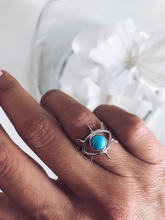 Sterling silver ring,evil eye ring,birthstone ring,solid silver ring,turquoise ring,blue eye ring,silver 925 ring,December birthstone