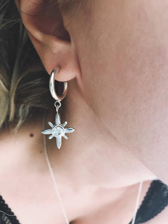 Polar star earrings,zirconium earrings,stud earrings,hoops earrings,layered earrings,cross earrings,silver earrings,star earrings,zircon