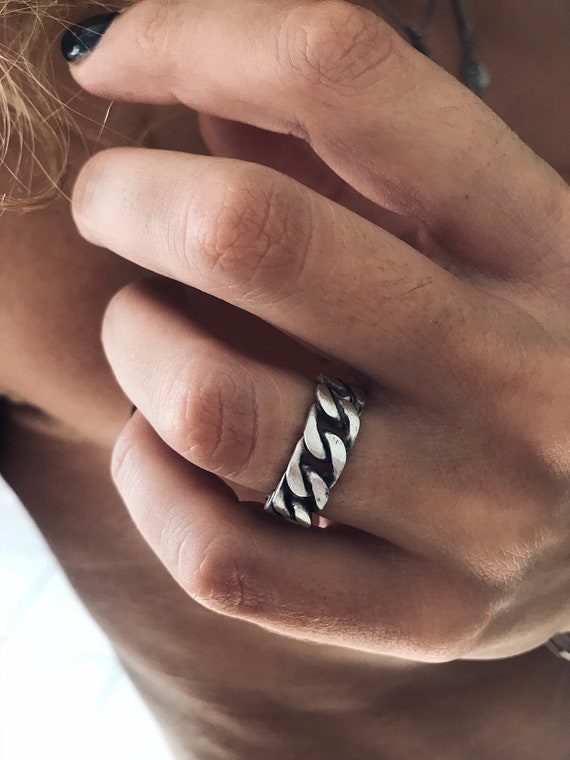 Chain ring,sterling silver ring,men's ring,woman's ring,ring for couples,band ring,thick ring,minimalistic ring,simple ring,boho ring,solid