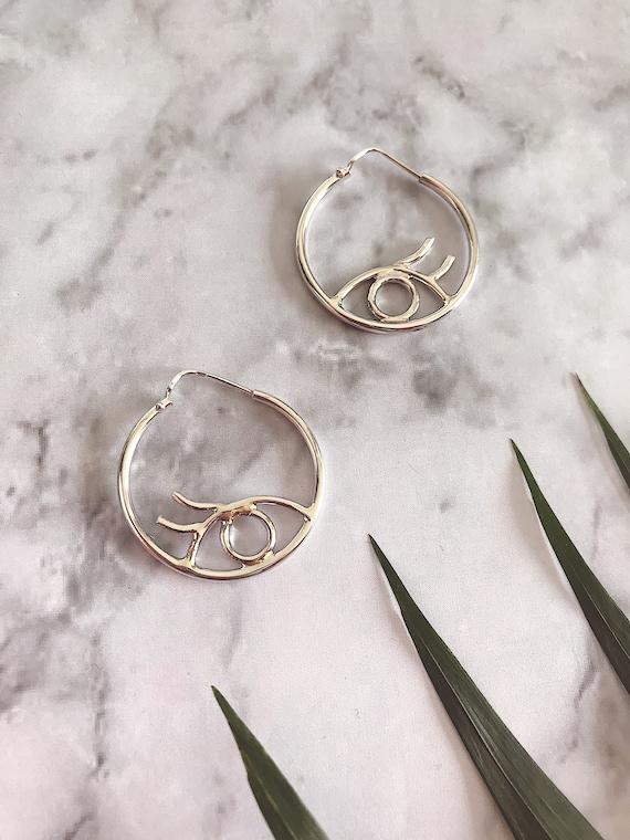 Sterling silver earrings,eye earrings,hoops earrings,silver eye earrings,third eye earrings,minimalist earrings,simple earrings,medium hoops