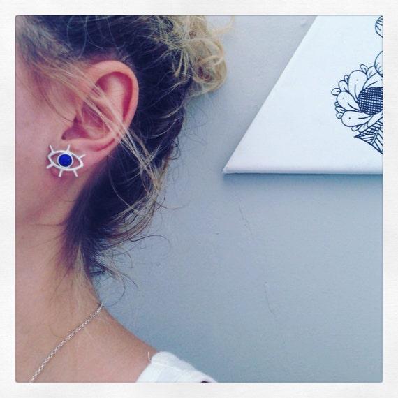 Stud eye earrings,silver stud earrings,blue earrings,cute eyes earrings,lapis lazuli earrings,small earrings,silver eye earrings