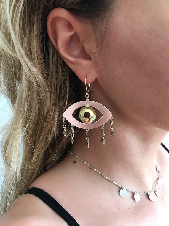 Eye earrings,statement earrings,evil eye earrings,eye jewelry,boho earrings,drop earrings,big earrings,sterling silver earrings,big earrings
