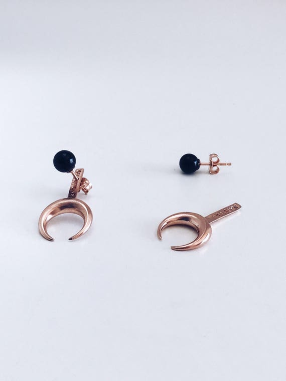 Moon earrings,rose gold ear jacket,sterling silver earrings,black onyx earrings,rose gold moon earrings,rose gold earrings,Taurus earrings