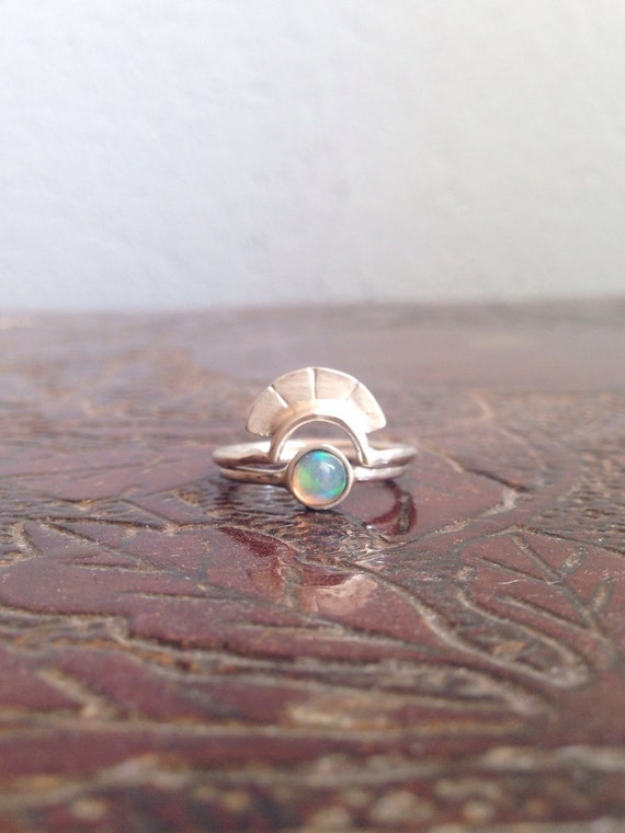Opal ring,sterling silver ring,stacking rings,rings set,arch ring,dainty ring,boho ring,midi ring,gift for her,ethiopian opal ring