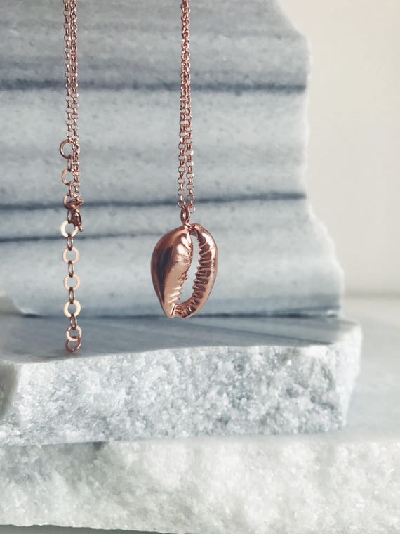 Rose Gold necklace,rose gold shell cowrie necklace,rose gold sea shell,hawaiian shell necklace,rose gold cowry necklace,rose gold layering