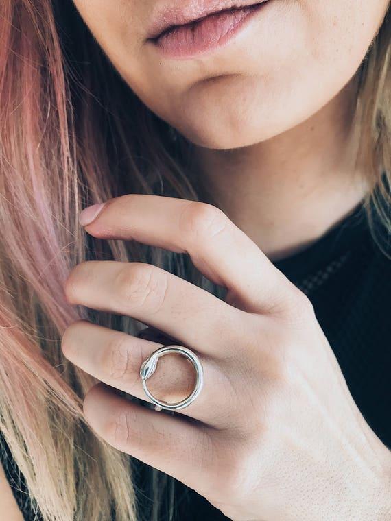 Silver snake ring Ouroboros