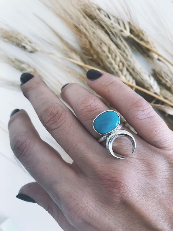 Turquoise ring,moon ring,horn ring,moon ring,sterling silver ring,birthstone ring,crescent moon ring,December birthstone,celestial ring