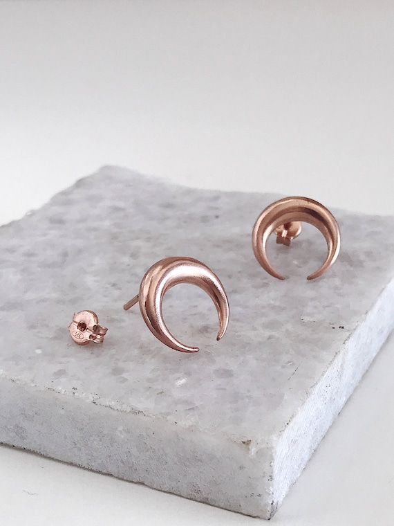 Rose gold earrings,rose gold Studs earrings,moon earrings,rose gold filled earrings,rose Gold tusks,boho earrings,Taurus earrings