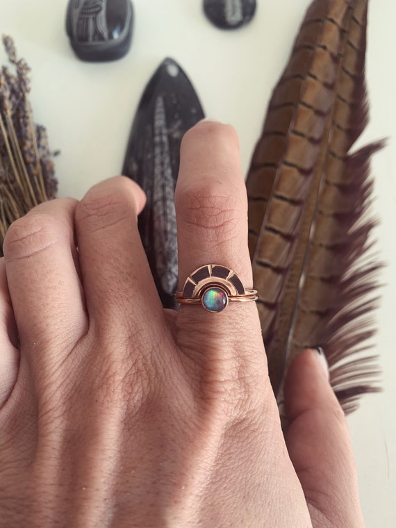 Opal ring,rose gold ring,stacking rings,rings set,arch ring,dainty ring,bohoring,midi ring,gift for her,ethiopian opal ring,rose gold filled