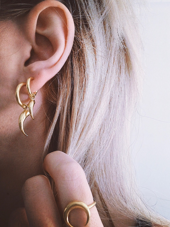Sterling silver studs earrings,gold filled small hoops earrings,moon earrings,tiger's nail,horn earrings,dragon tooth earrings,edgy earrings