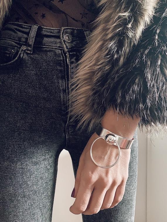 Cuff bracelet,Sterling silver bracelet,fashion bracelet,minimal bangle,statement bracelet,ball bracelet,geometric bracelet,boho bracelet