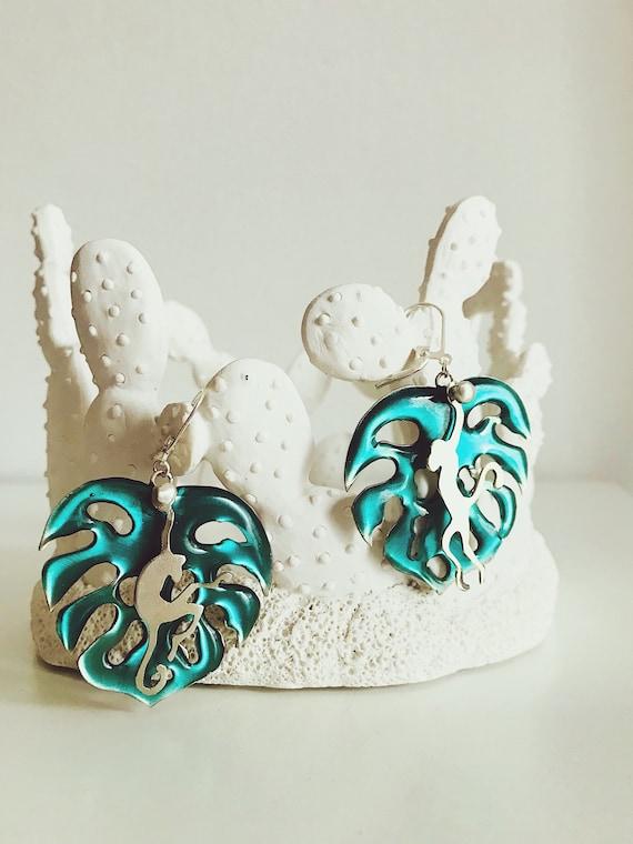 Monstera leafs earrings,monkeys earrings,tropical leafs earrings,summer earrings,big earrings,silver earrings,drop earrings,green earrings