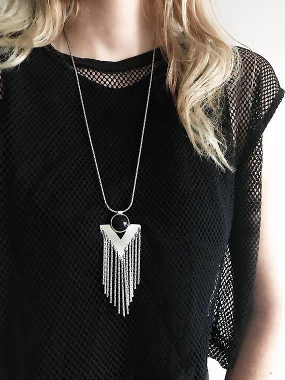 Long necklace,Fringe necklace,Geometric necklace,silver necklace,Black onyx necklace,black necklace,multy chains necklace,boho necklace
