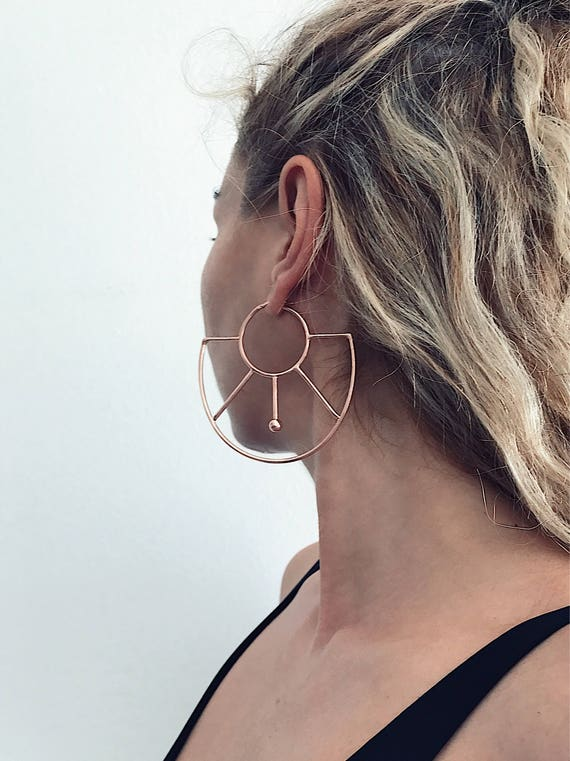 Rose gold earrings,rose gold hoops earrings,rose gold geometric earrings,rose gold big earrings,statement earrings,large earrings,minimalist