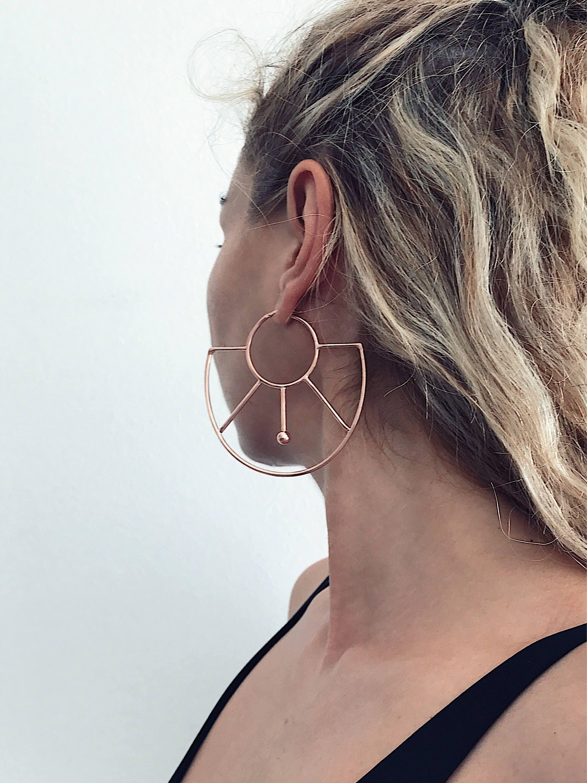 Rose Gold Earrings Rose Gold Hoops Earrings Rose Gold Geometric Earrings Rose Gold Big Earrings Statement Earrings Large Earrings Minimalist