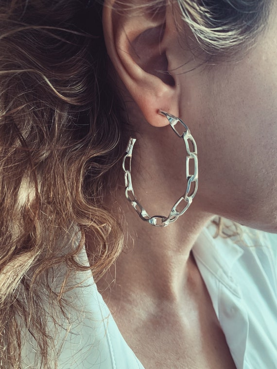Silver hoops,big hoops earrings,silver chain hoops earrings,silver chain earrings,silver link earrings,statement earrings,boho earrings