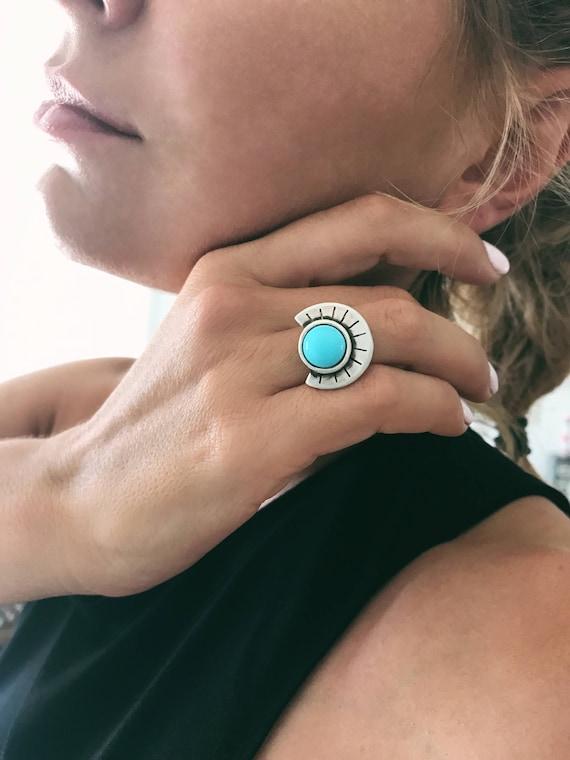 Sterling silver ring,turquoise ring,black onyx ring,round ring,silver boho ring,maya's ring,sun ring,geometric ring,big ring,silver 925 ring
