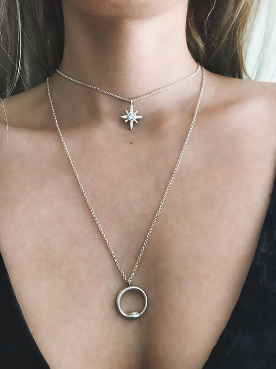 Star necklace,star choker,polar star necklace,zirconium necklace,starburst necklace,silver cross necklace,northern star necklace