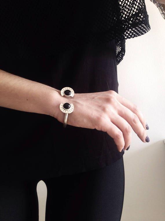 Sterling silver bracelet,black onyx bracelet,silver cuff bracelet,geometric bracelet,Aztec's bracelet,black bracelet,boho bracelet