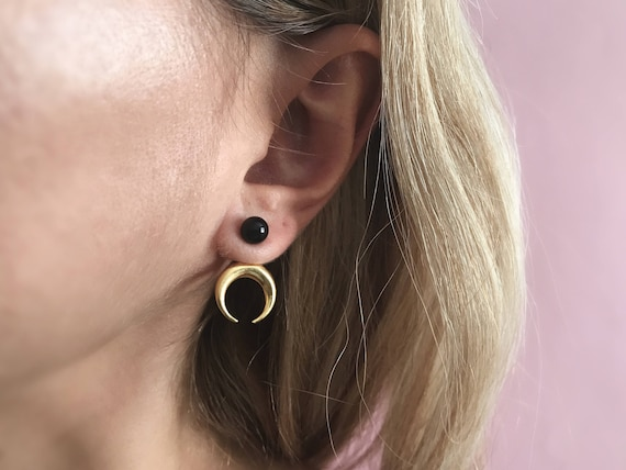 Gold moon ear jackets