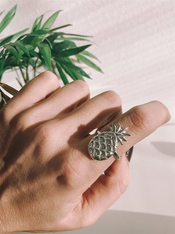 Pineaplle ring,silver 925 ring,sterling silver ring,summer ring,solid silver ring,statement ring,stacking ring,silver pineapple