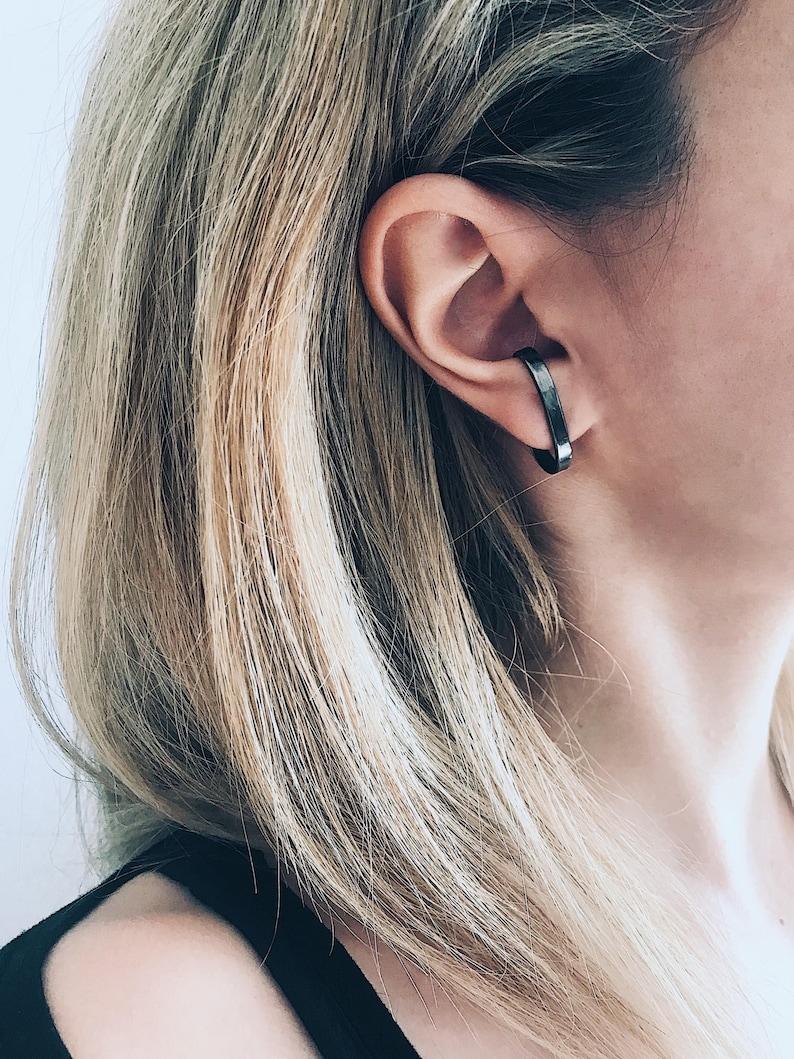 Black ear cuffs,black earrings,black rhodium cuffs,black suspender earrings,edgy earrings,earrings for men,men/'s earrings,black mens earring