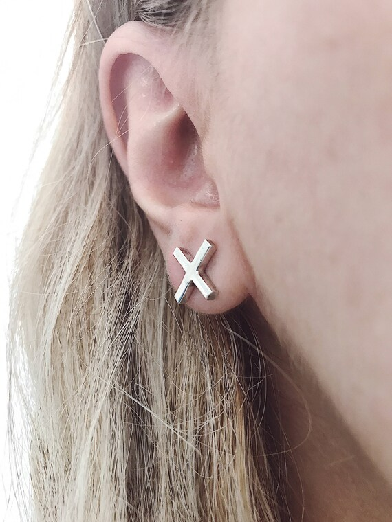 Silver studs earrings,cross earrings,simple earrings,minimalist earrings,silver cross earrings,Sterling silver earrings,x earrings