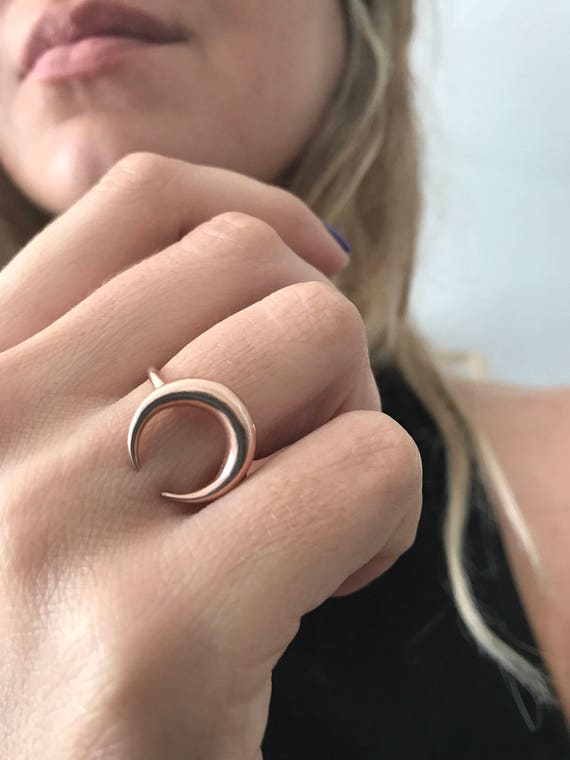 moon ring,rose gold ring,crescent horn ring,rose gold filled ring,sterling silver ring,Wicca ring,crescrent moon ring,midi ring,dainty ring