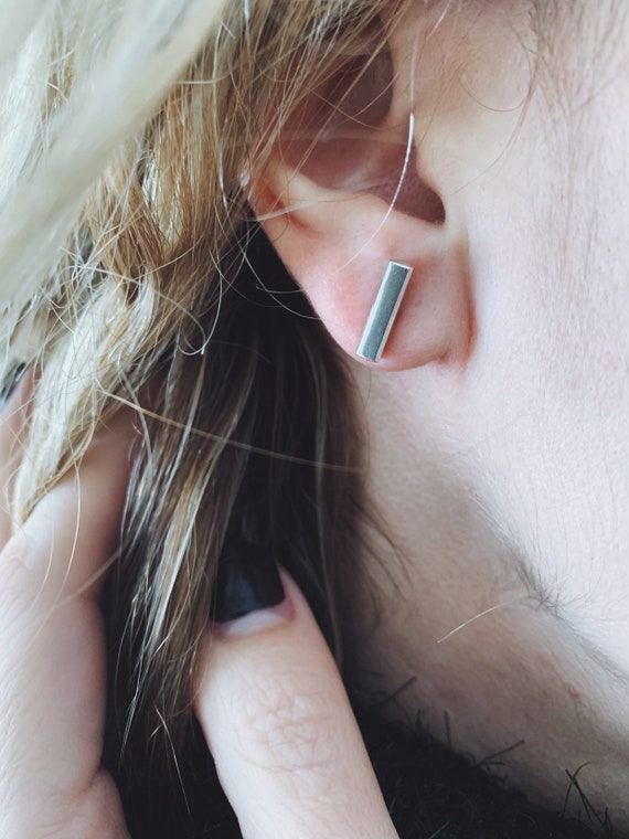 Small earrings,bar earrings,simple studs,minimalist earrings,Sterling silver earrings,little studs earrings,unisex earrings,silver bar studs