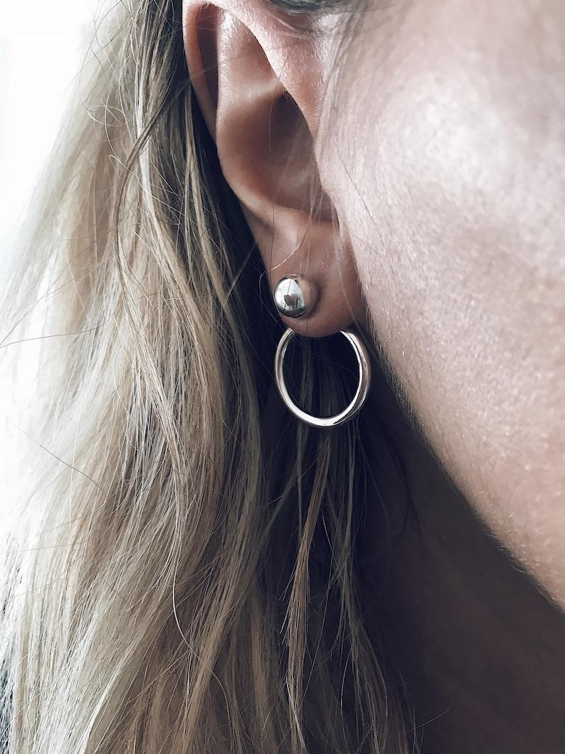 Silver ear jackets,sterling silver ear jackets,silver ball studs,sterling silver hoops earrings,simple ear jackets,silver ear cuff