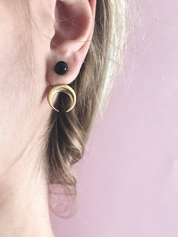 Moon earrings,gold ear jacket,sterling silver earrings,black onyx earrings,gold moon earrings,ear cuff,black ear jackets,double horn earring