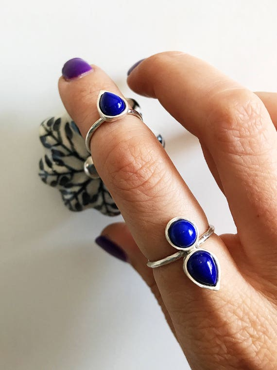 Stackable ring sterling silver,rings set,lapis lazuli ring,stacking rings,silver rings,lapis ring,simple ring,mulpu stones ring,boho rings