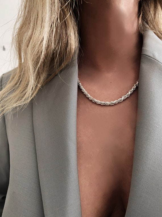 Silver chain Necklace,silver chain Necklace,silver link Necklace,chunky necklace,rope chain necklace,grunge necklace,mens necklace