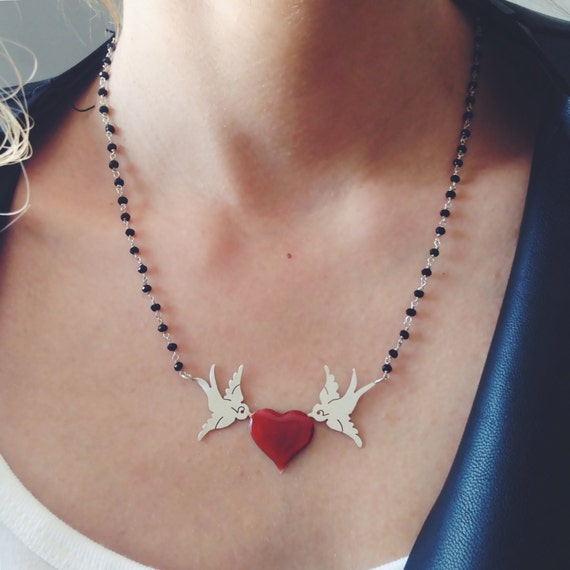 Silver bird necklace,Doves necklace,Heart pendant,Sterling silver necklace,red heart necklace,Tattoo necklace,women's necklace