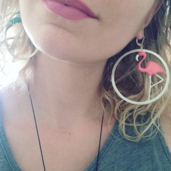 Hoops earrings,Tropical leafs earrings,flamingo earrings,Palm tree earrings,Colourful earrings,Tropical earrings,Statement earrings