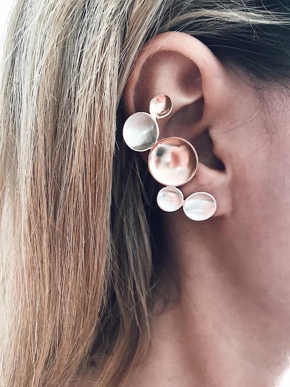 Rose gold gold ear cuffs,sterling silver ear cuffs,minimalist ear cuff,geometric earrings,sterling silver earrings,rose gold earrings